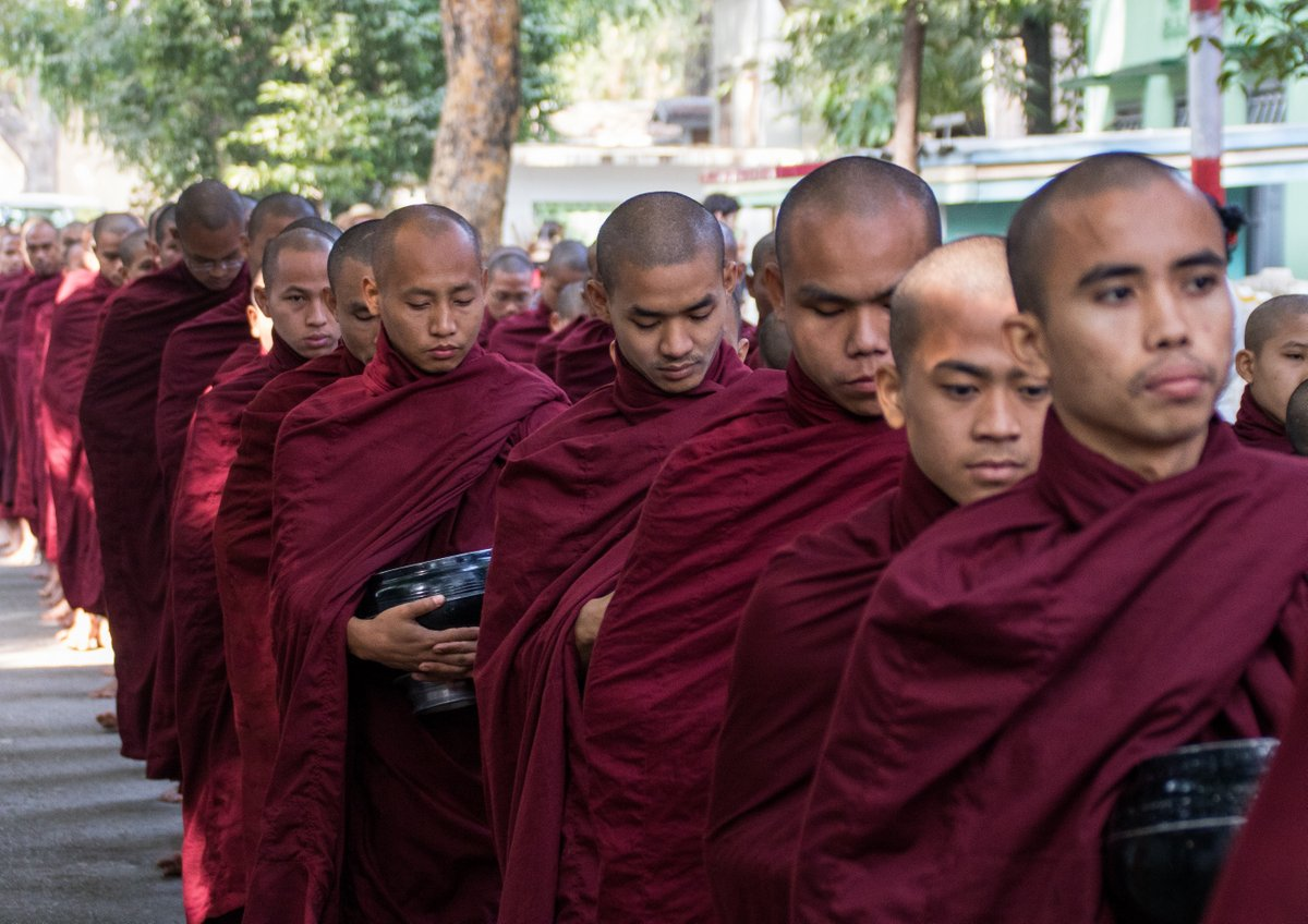 Monks queue for their breakfast
