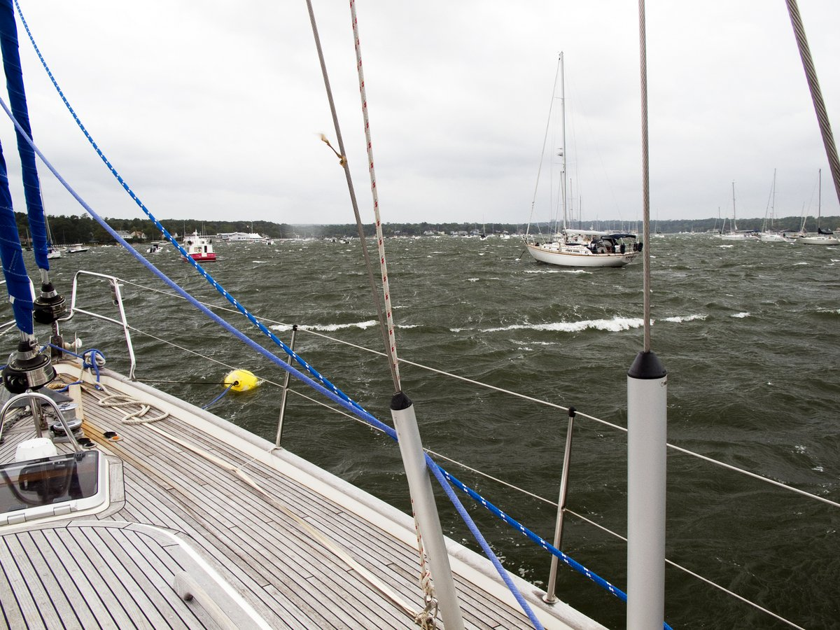 A forty knot gale comes through Port Washington, Long Island