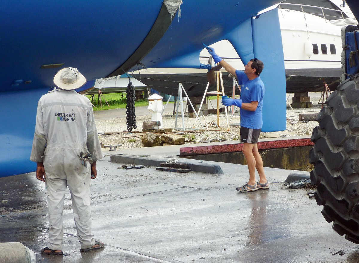 Last bit of painting, Shelter Bay Marina, Panama