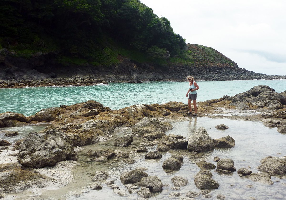 Checking out the beach at low tide, Islas Secas, Panama