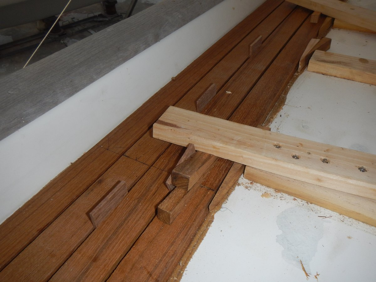 Planks clamped with small wedges