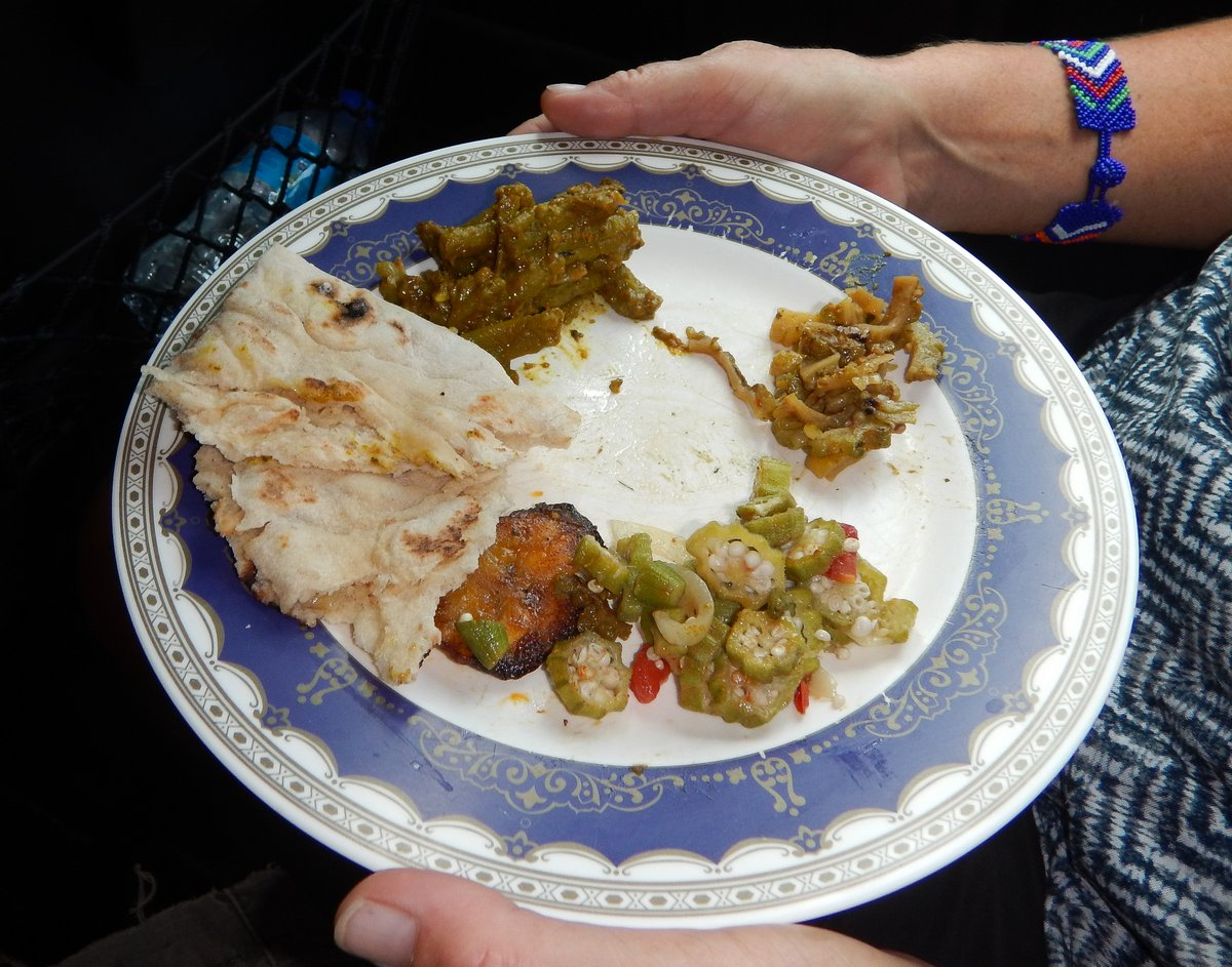 Typical plate of food on Taste of Trini