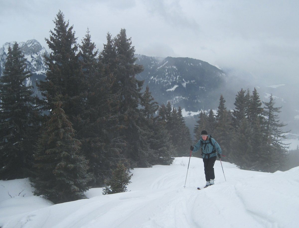 Slogging up in the mist, Leysin