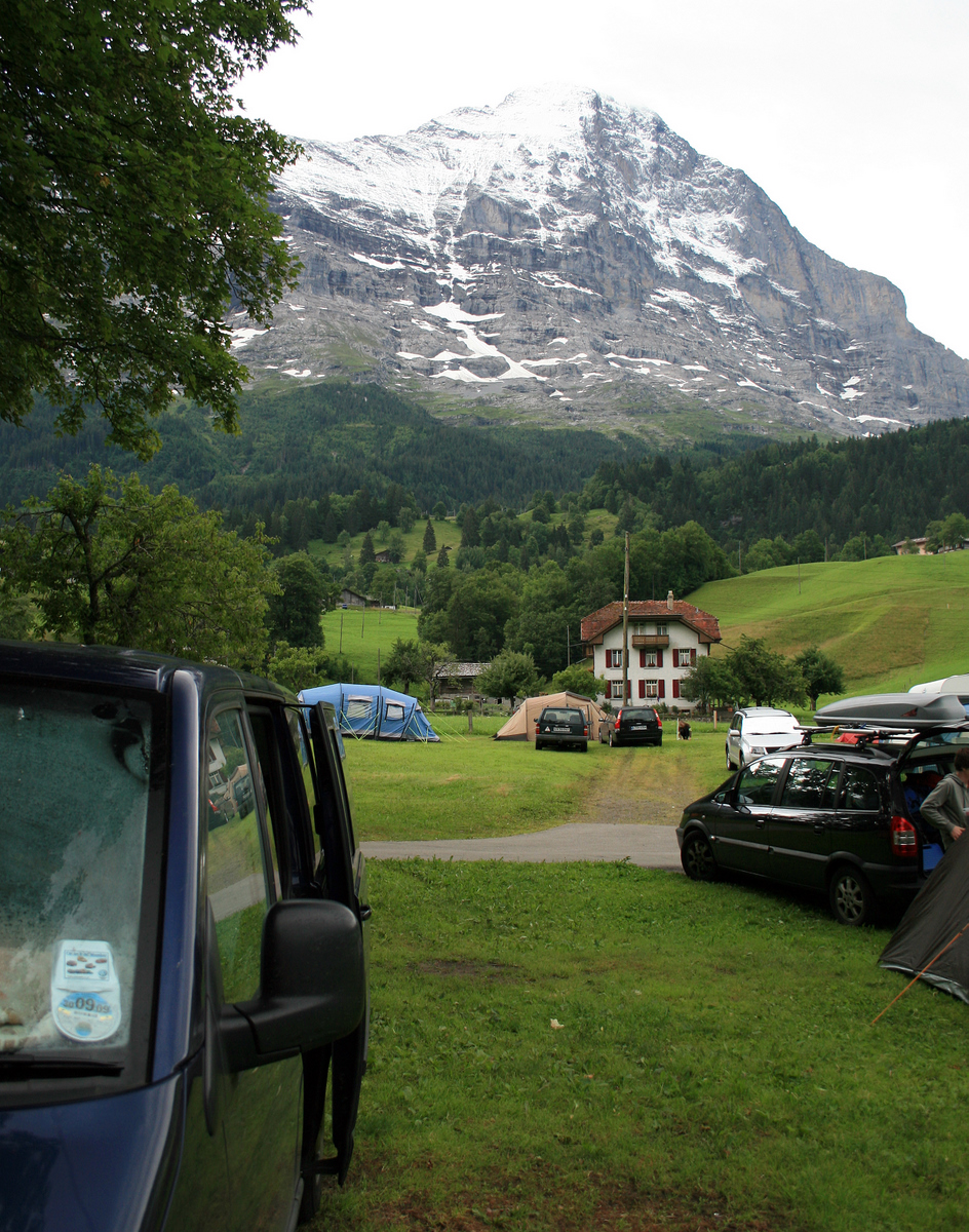 The aptly named EigerNordWand campsite