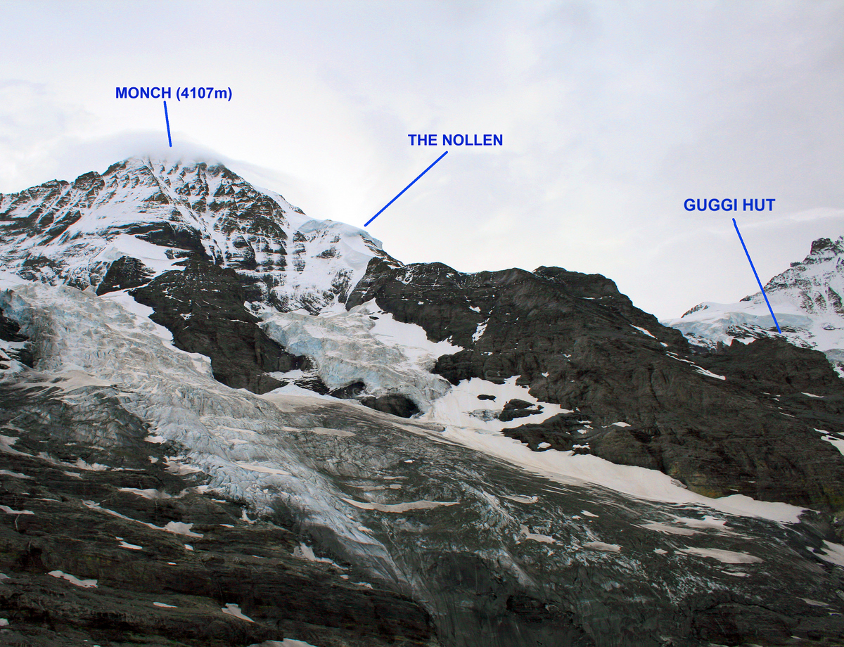 The Nollen route follows the North-west buttress of the Monch