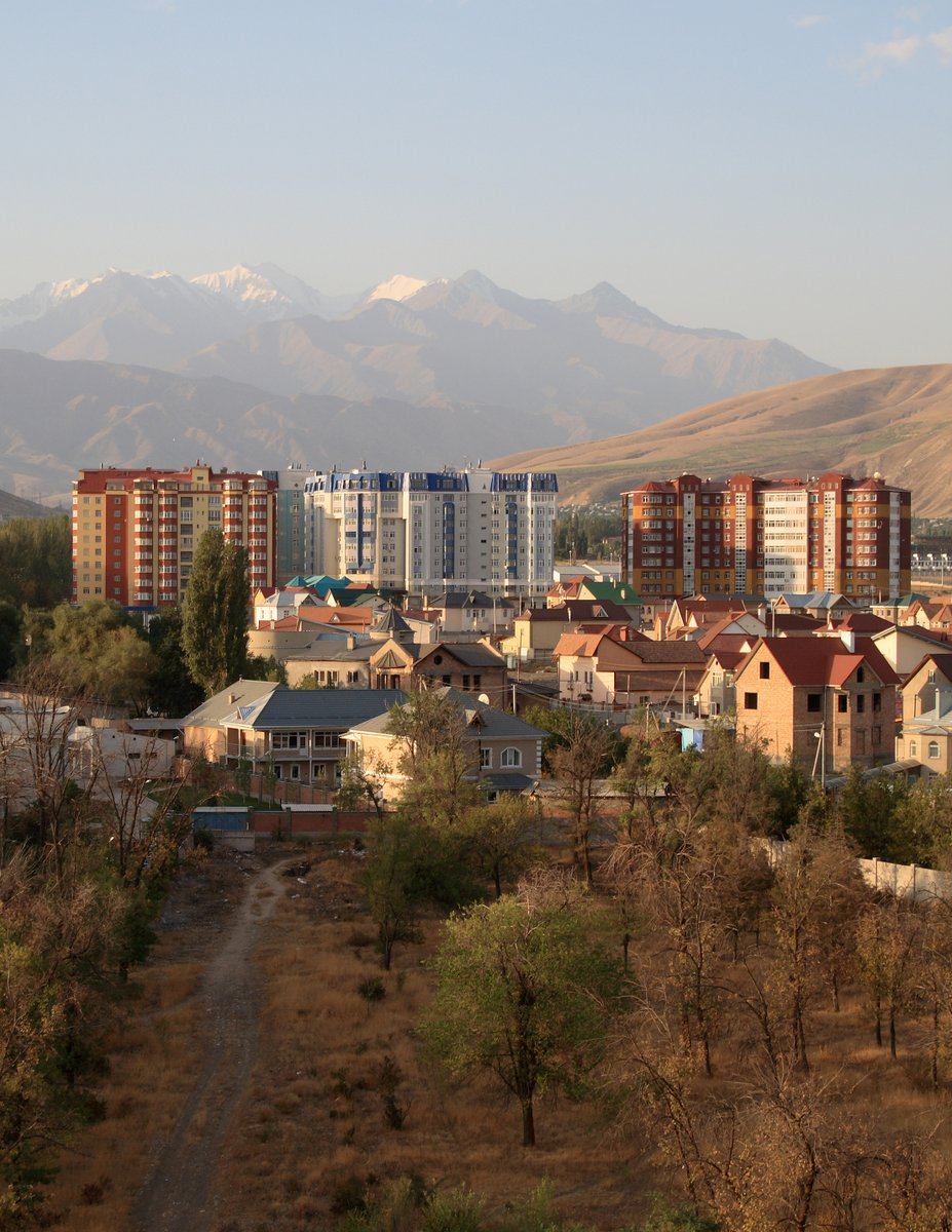 View of the mountains from the hotel in Bishkek