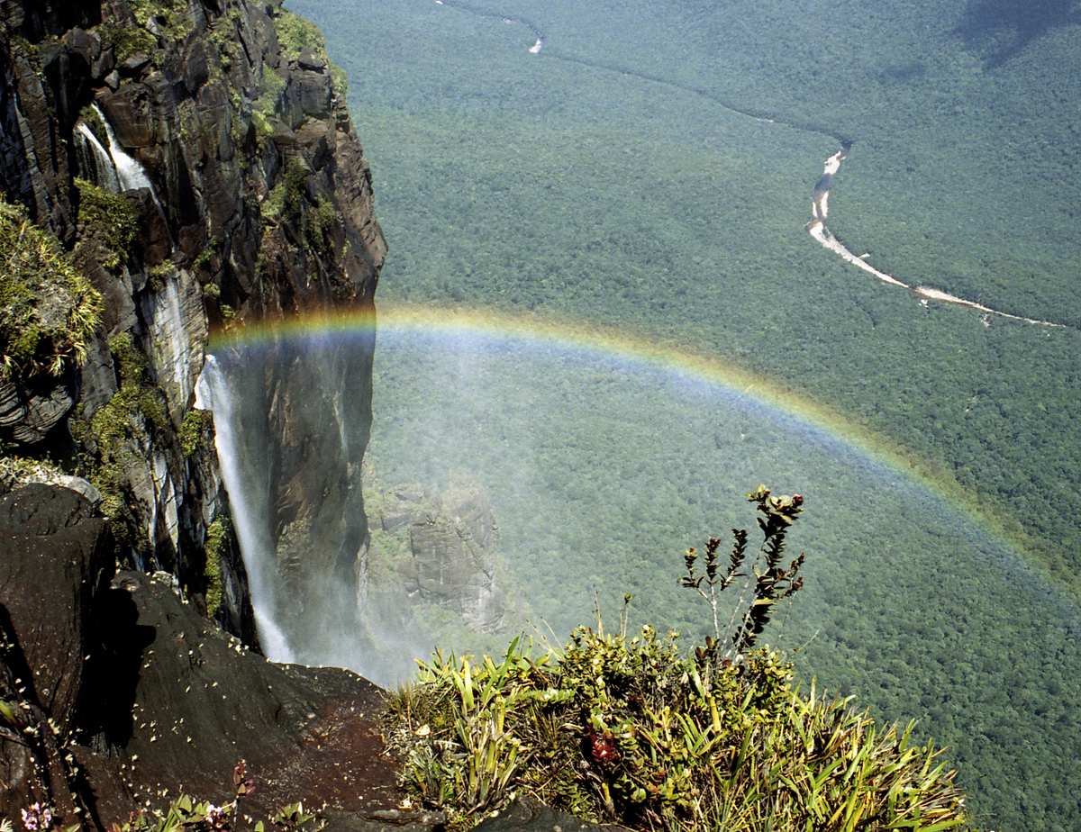 Rainbow from the top of Angel Falls